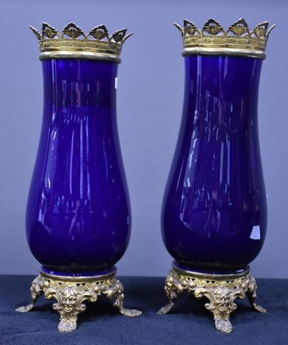 Paire de vases en faïence bleu cobalt, monture...