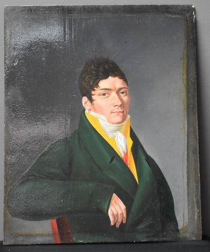 Portrait d'homme de qualité . Ecole française...