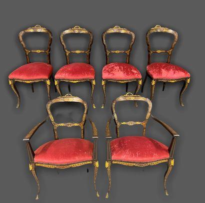 Lot de 6 chaises de style Boulle Travail...
