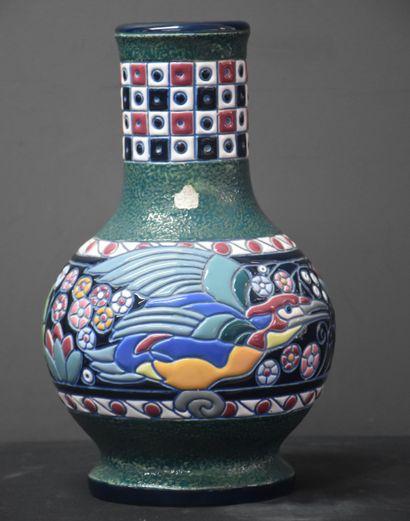 Vase Amphora à décor d'oiseaux. Ht : 28 ...