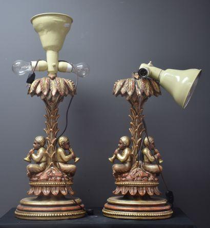 Paire de bois sculptés vénitiens à sujets...