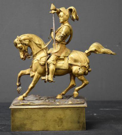 Bronze doré équestre Emmanuel Philibert de...