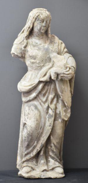 Vierge en pierre sculptée vers 1600. Restaurations...
