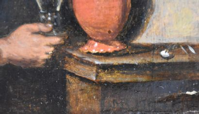 The drinker. Oil on oak panel. Period XVII th. Signed by Adrian Brouwer (on the...