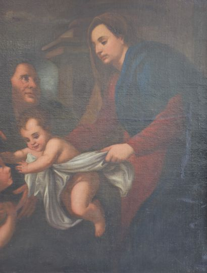 Holy family Italian school XVII th century. Dimensions : 120 x 137 cm. One hole...