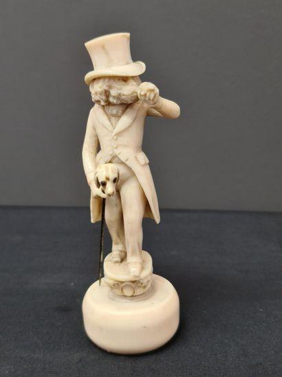 Sculpture anthropomorphe en ivoire XIX ème...