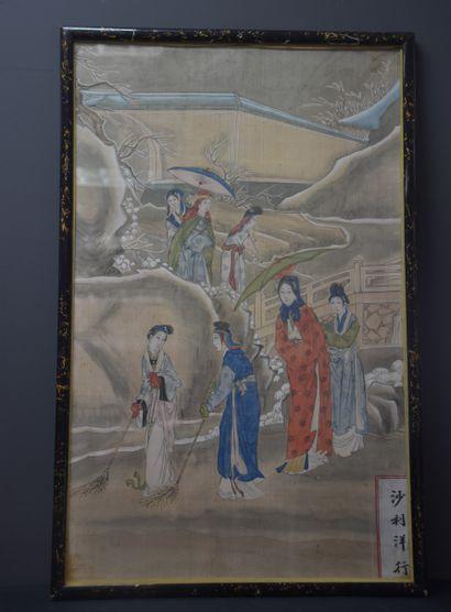 Peinture chinoise sur soie vers 1900 à décor...