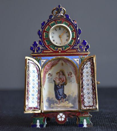 Porte montre miniature en bronze cloisonné...