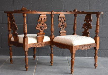 Carved walnut chair. Italian work XIX th century.
