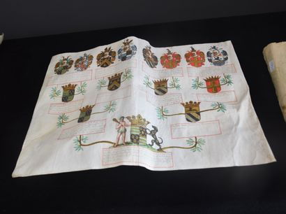 Heraldry, genealogy: lot of four documents on paper and parchment XVI th and XVII...