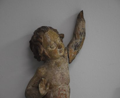 Carved and polychromed wood angel, fragment of an altarpiece. 17th century. Height...