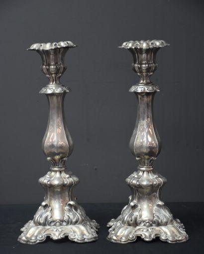 Paire de chandeliers de style rocaille en...