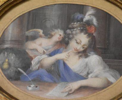 Gouache miniature ovale à décor romantique, fin XVIII ème-vers 1800. Dimensions...