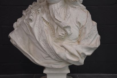 Imposing plaster bust representing Colbert. Museum cast from the 20th century. Height...