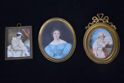 Lot de trois miniatures début XIX ème représentant...