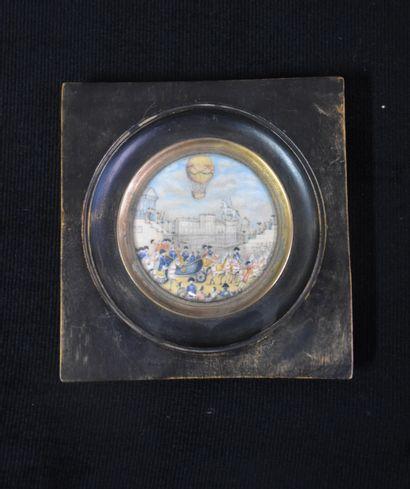 Miniature vers 1800 à décor de montgolfière...