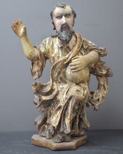 Saint en bois sculpté et polychromé, XVII...