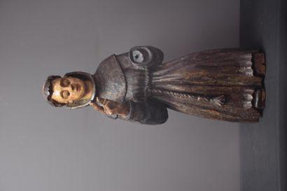 Bois sculpté représentant un moine fin XVII...