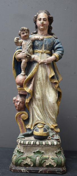 Vierge à l'enfant en bois sculpté XVIII ème...