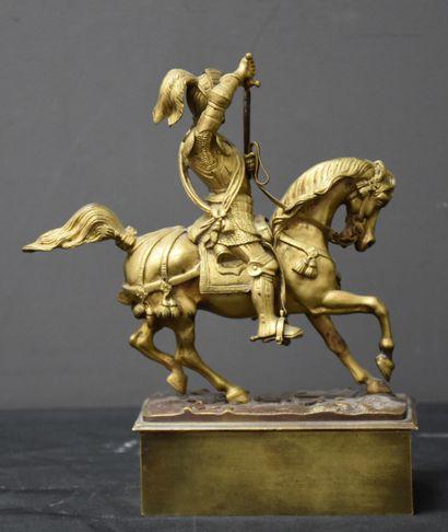 Bronze doré équestre Emmanuel Philibert de Savoie. Fin XIX ème. Ht : 20 cm.