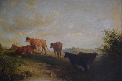 Huile sur toile signée et datée 1892 représentant un troupeau de vaches dans les...