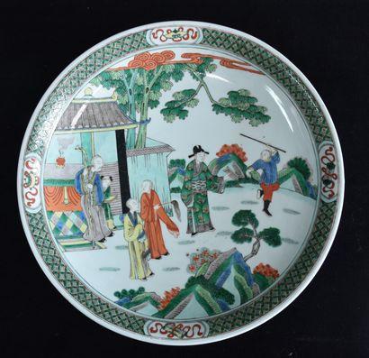 Plat porcelaine de chine de la famille verte....