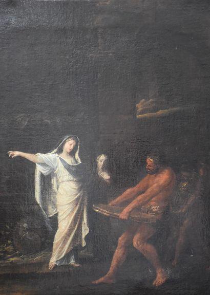 La vestale Tuccia, Huile sur toile néo-classique XVIII ème siècle. Ecole française....
