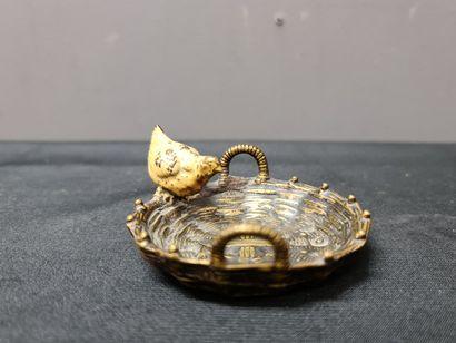 Bronze de Vienne polychrome, poussin dans...