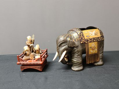 Wood, ivory and Japanese lacquer tea box representing an elephant surmounted by...