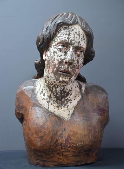Buste de procession en bois sculpté et polychromé....