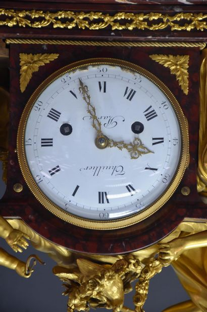 """Important Louis XVI period clock in gilt bronze and red griotte marble. """"Dial signed..."""