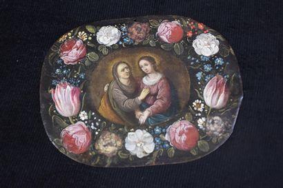 Huile sur cuivre XVII ème, guirlande de fleurs...