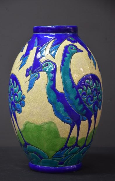 Vase Boch Kéramis à décor d'autruches en...