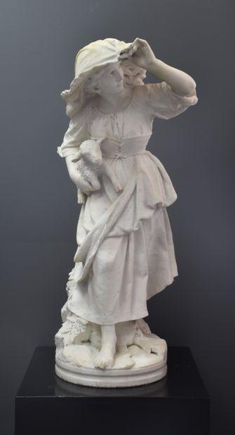 Imposante sculpture romantique en marbre...