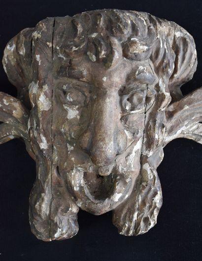 Sculpture XVIII ème murale en bois sculpté représentant un masque grimaçant. Ht...