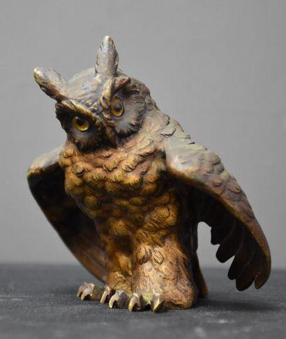 Great duke in polychrome Vienna bronze. Eyes in sulphur. Height : 10 cm.