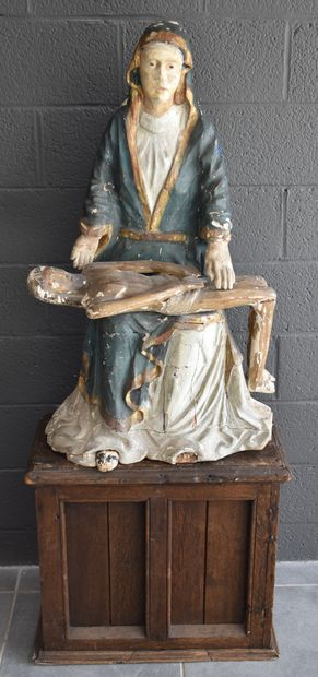 Carved and polychromed wood Pieta. Italy 16th century. One hoof missing. Height...