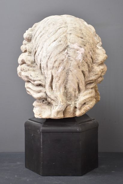 Female bust in carved stone, fragment of a sculpture. Probably 17th century. Height...