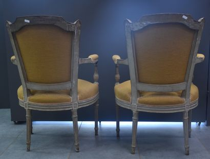 Pair of armchairs in the Louis XVI style, 19th century. Nice old grey patina.