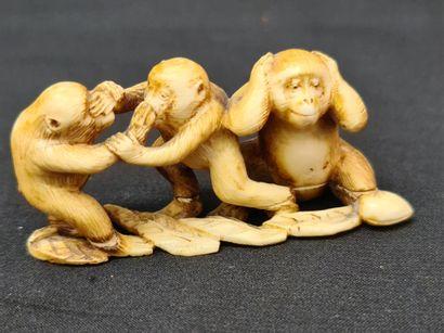 Set of four Japanese ivory netsuke circa 1900. The model with the three monkeys...