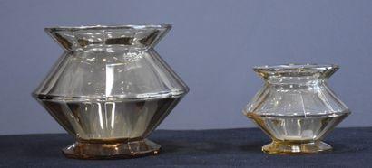 Deux vases en cristal topaze du Val Saint...