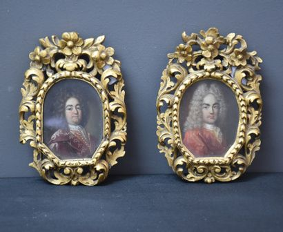 Pair of small oval portraits on copper 18th century. Charles VI, father of Maria...