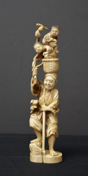 Sculpture ivoire japonais. Signée. Fin XIXème...