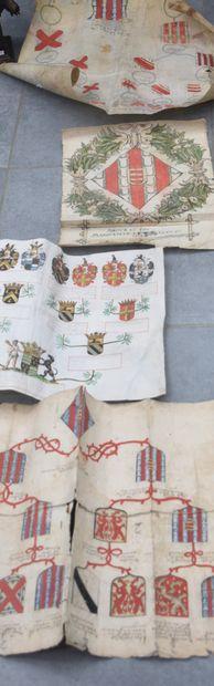 Héraldique, généalogie : lot de quatre documents...