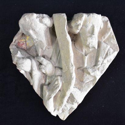 Clé de voûte en pierre sculptée représentant...