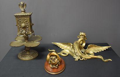 Lot de 3 éléments en bronze d'époque Napoléon...