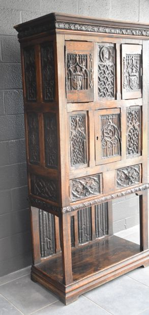 Gothic style cabinet / credenza. 19th century. Presence of old panels probably from...