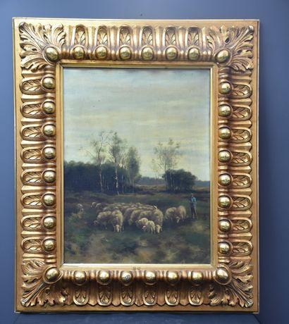Peinture romantique XIXème siècle signée....