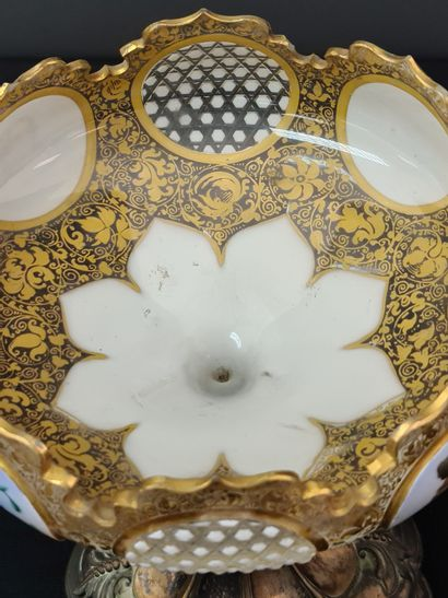 Bohemian crystal bowl enamelled with gold and decorated in reserves with painted...