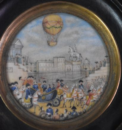Miniature around 1800 with a hot air balloon flying over the coronation of Charles...